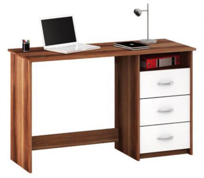 schreibtisch nussbaum weiss mit 3 schubk sten. Black Bedroom Furniture Sets. Home Design Ideas