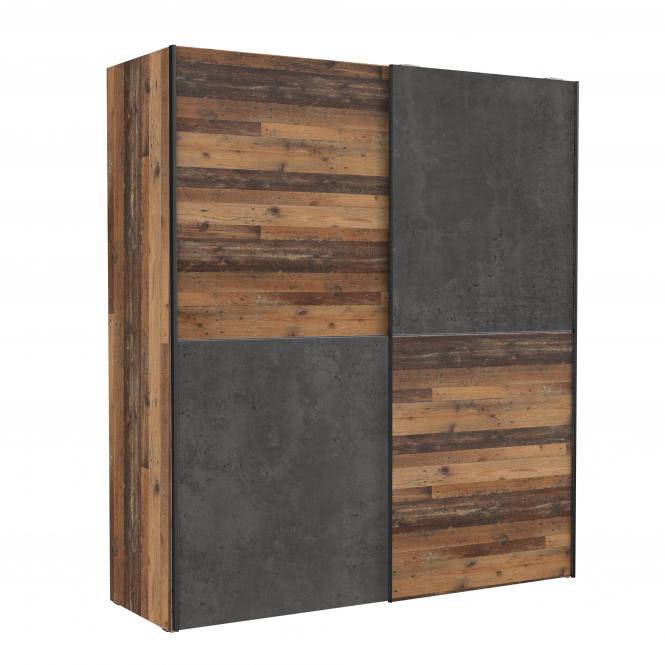 Schwebetürenschrank 170 cm DEDERIK von Forte Old Wood Vintage / Beton Dunkelgrau