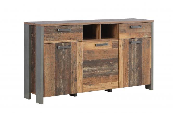 Sideboard 3-trg 2 Schubkästen CLIF von Forte Old Wood Vintage / Betonoptik Dunkelgrau i