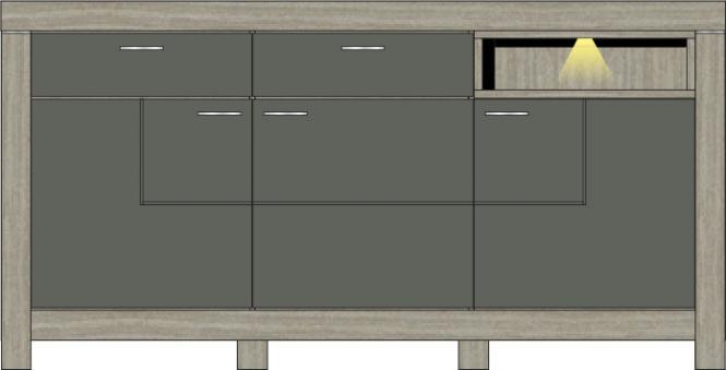 Sideboard inkl. LED-Beleuchtung 196 cm breit Granada von Wohnconcept Haveleiche / Beton dunkel