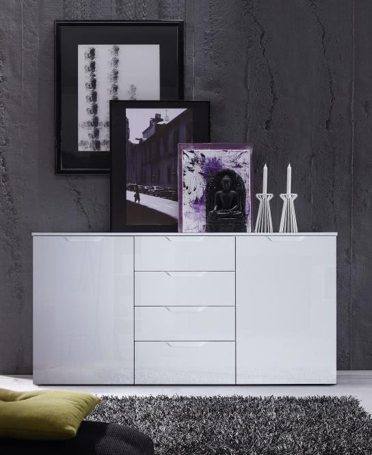 Sideboard Sienna 2-türig mit 4 Schubkästen breit Weiß