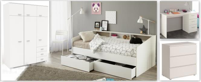 Kinderzimmer-Set 4-tlg inkl 90x200 Stauraumbett Kleiderschrank 6-trg Kommode u Schreibtisch Sleep 20 von Parisot Weiss