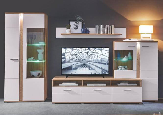 Wohnwand inkl LED Beleuchtung SPURT von Innostyle Gran Oak Gold / Champagner