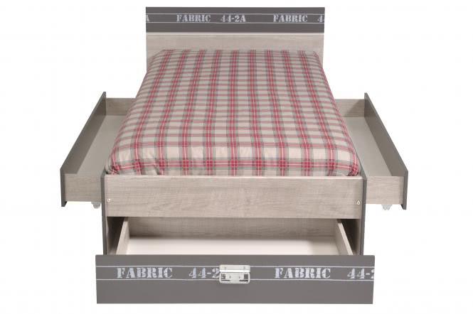 90x200 Stauraumbett Fabric 10 Esche-Grau-Loft