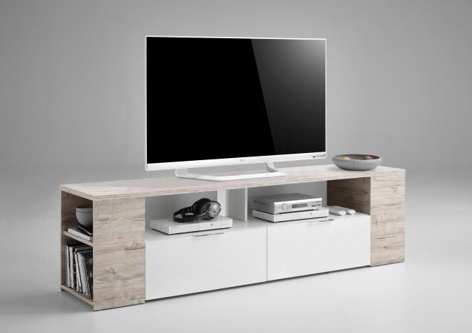TABOR 2 TV Lowboard von FMD Sandeiche / Weiss