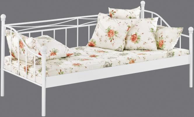 tagesbett weiss 90 x 200 cm aus metall. Black Bedroom Furniture Sets. Home Design Ideas