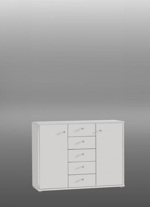Kommode Tempra 2-türig mit 5 SK Weiß