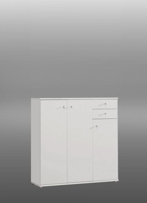 Kommode Tempra hoch 3-türig mit 2 SK Weiß