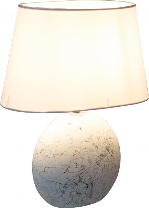 Tischleuchte 1-flg Schirm Ø 25 cm SAMMY von Nino Keramik weiss/Schirm weiss