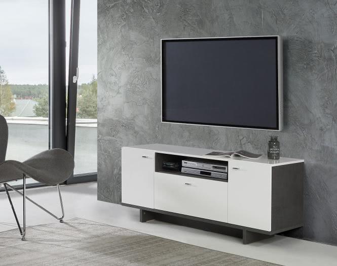 TV-Lowboard ca 140 cm breit Makaria von Forte Beton / Weiss