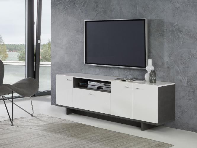 TV-Lowboard ca 175 cm breit Makaria von Forte Beton / Weiss i