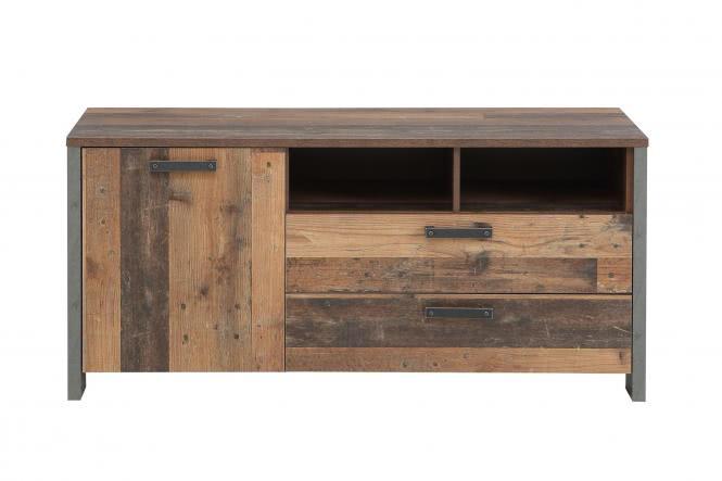 TV-Unterschrank 140 cm CLIF von Forte Old-Wood Vintage / Beton