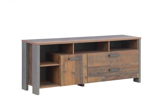 TV-Unterschrank 160 cm CLIF von Forte Old-Wood Vintage / Beton
