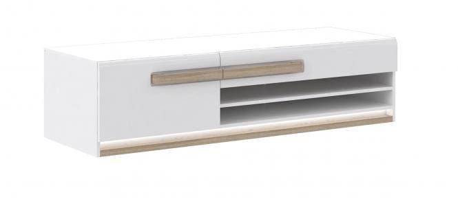 TV-Unterschrank ca 160 cm breit inkl Beleuchtung Attention von Forte Weiss / Sonoma Eiche