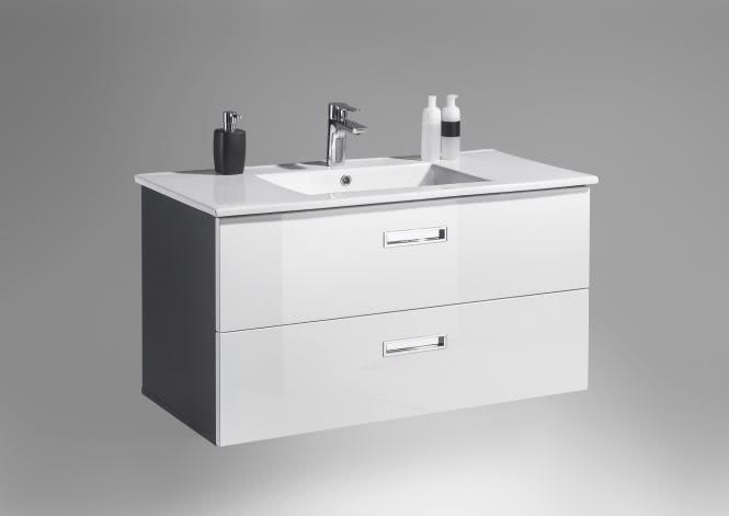Waschbecken-Unterschrank inkl Becken MANHATTAN von Bega Weiss HG / Grau
