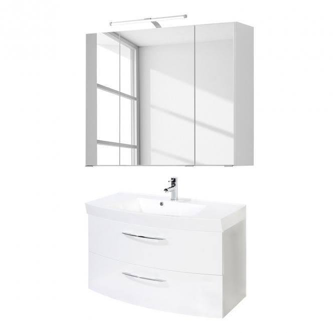 Waschtisch-Set 100 2 Auszügen Florida inkl LED Beleuchtung von Held Möbel Weiß