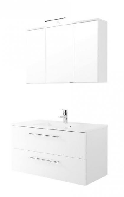Waschtisch-Set 100 2-tlg Mailand inkl LED Beleuchtung von Held Möbel Weiss Hgl