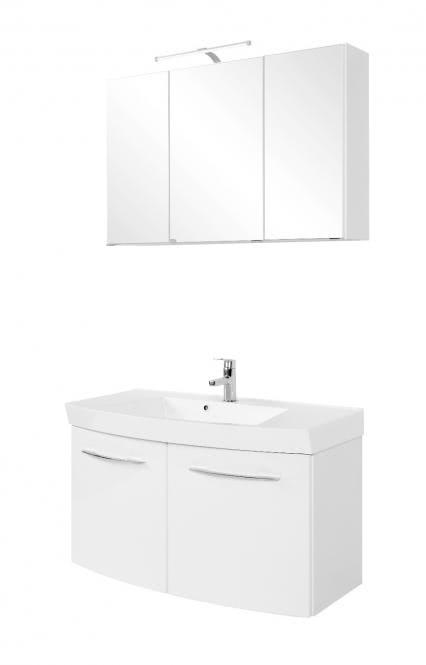 Waschtisch-Set 100 2-trg Florida inkl LED Beleuchtung von Held Möbel Weiß