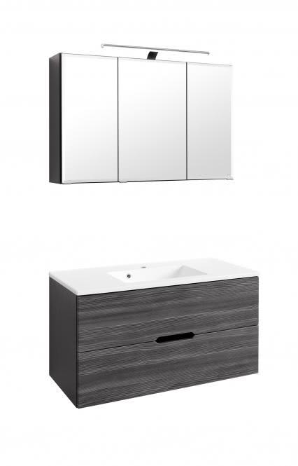 Waschtisch-Set 100 Belluno inkl LED Beleuchtung von Held Möbel Lärche anthrazit / Graphitgrau
