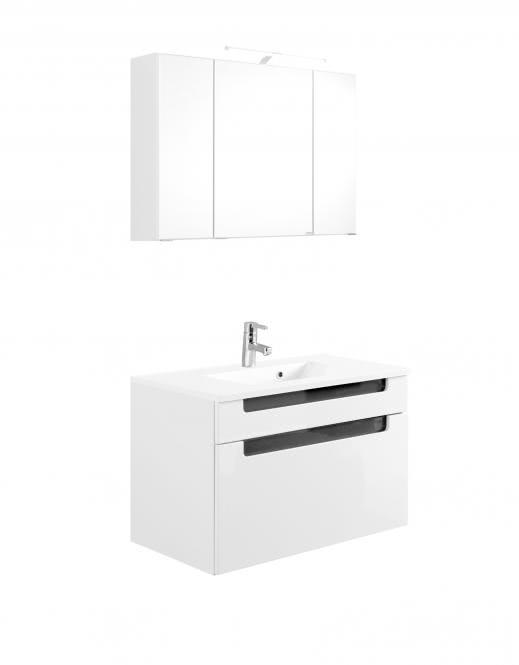 Waschtisch-Set 60 2-tlg Siena inkl LED Beleuchtung von Held Möbel Weiss Hgl / Grau Hgl