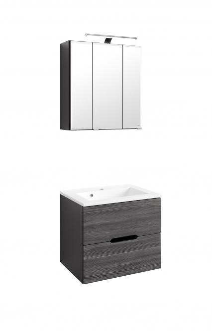 Waschtisch-Set 60 Belluno inkl LED Beleuchtung von Held Möbel Lärche anthrazit / Graphitgrau