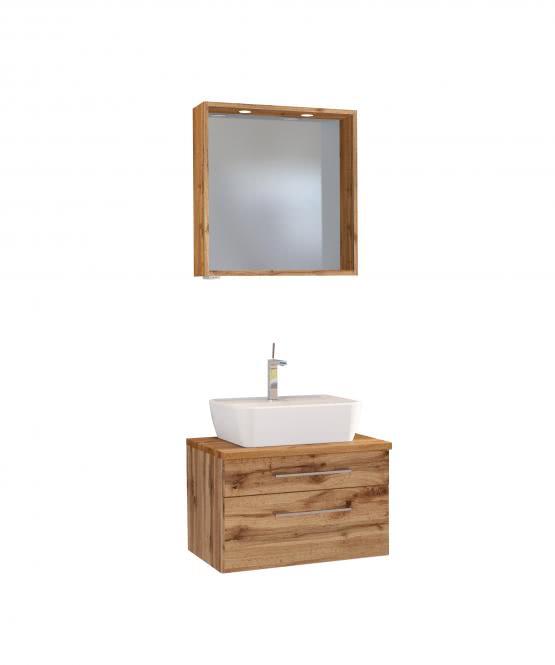 Waschtisch-Set 60 inkl Spiegelpaneel Davos von Held Möbel Wotan Eiche