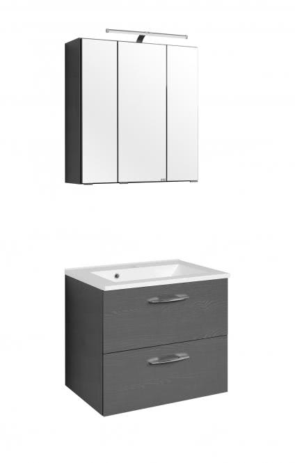 Waschtisch-Set 60 Portofino inkl LED Beleuchtung von Held Möbel Graphitgrau