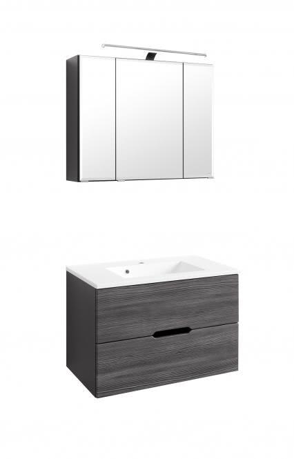 Waschtisch-Set 80 Belluno inkl LED Beleuchtung von Held Möbel Lärche anthrazit / Graphitgrau