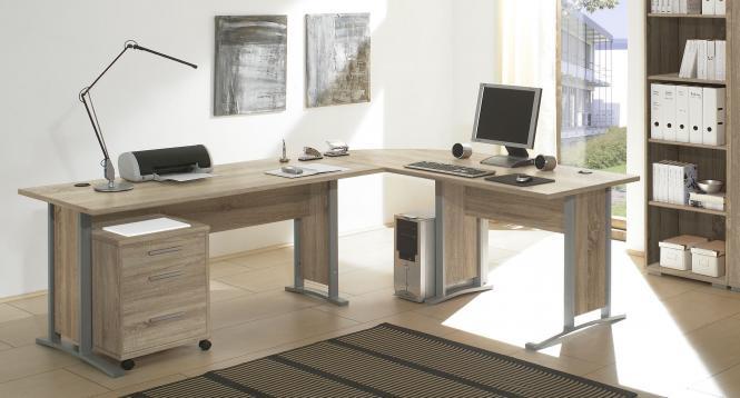 Winkelkombi Schreibtisch Office-Line inkl Rollcontainer Sonoma Eiche