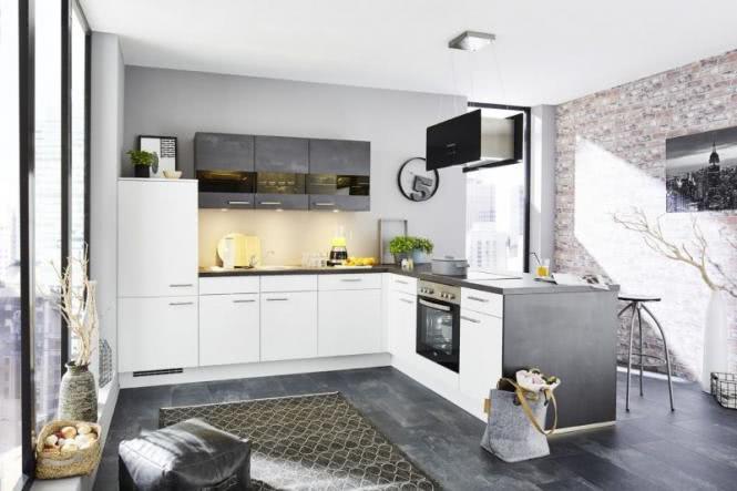Winkelküche inkl E-Geräte 315 x 215 cm von Nobilia Alpinweiss / Schwarzbeton