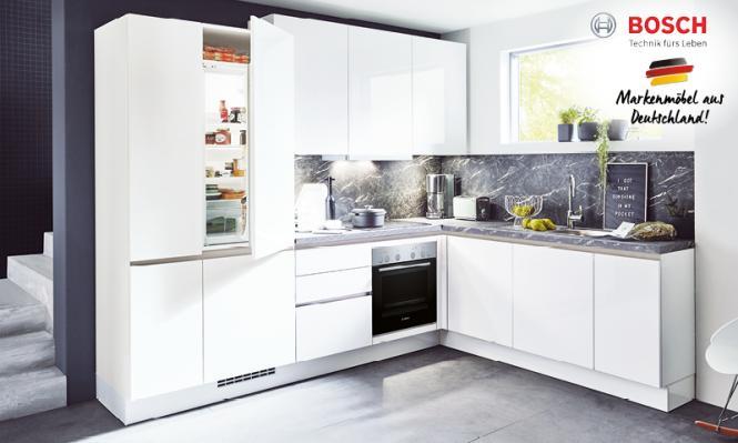Winkelküche FLASH 503 inkl E-Geräte 283,5 x 225 cm von Nobilia Alpinweiss