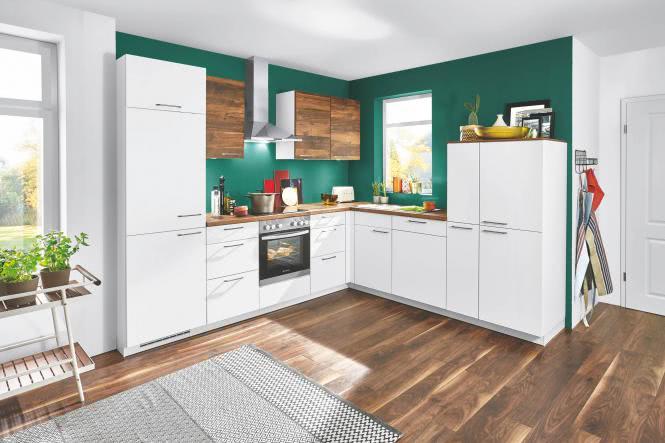 Winkelküche SPEED 244 XL inkl E-Geräte 285 x 255 cm von Nobilia Alpinweiss / Balkeneiche