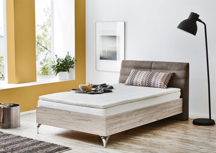 boxspringbett 120 x 200 cm inkl topper u kissen sandeiche braun. Black Bedroom Furniture Sets. Home Design Ideas
