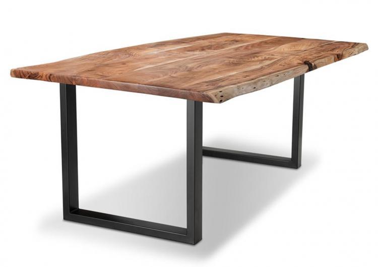 Baumkantentisch 180x90cm Akazie Massivholz 180x90cm Gestell Metall schwarz