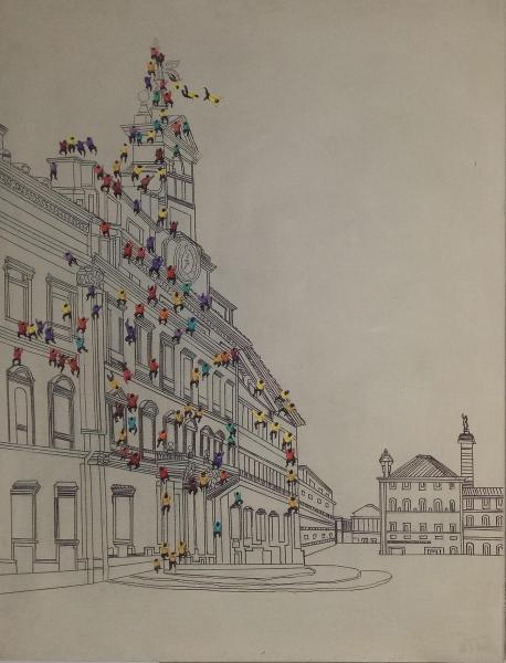 100x75 Öl-Wandbild Menschenmenge I von Kayoom Elfenbein