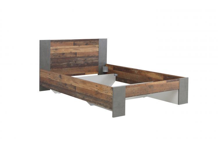 Jugendbett 140x200 CLIF von Forte Old-Wood Vintage / Beton