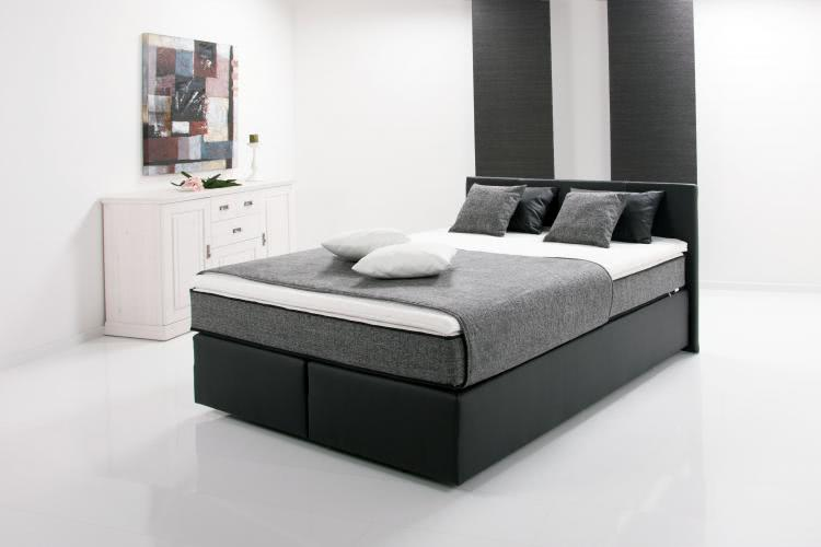 breckle boxspringbett peach 140x200 inkl topper schwarz grau. Black Bedroom Furniture Sets. Home Design Ideas