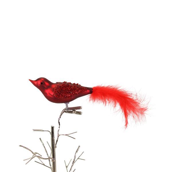 Glasvögelchen mit Federn 3,5x16 cm Rot von Werner Voss