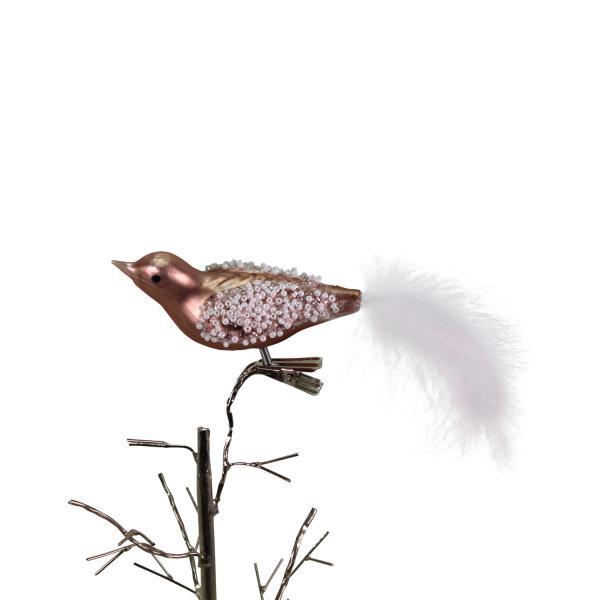 Glasvögelchen mit Federn 3,5x16 cm Rosa von Werner Voss