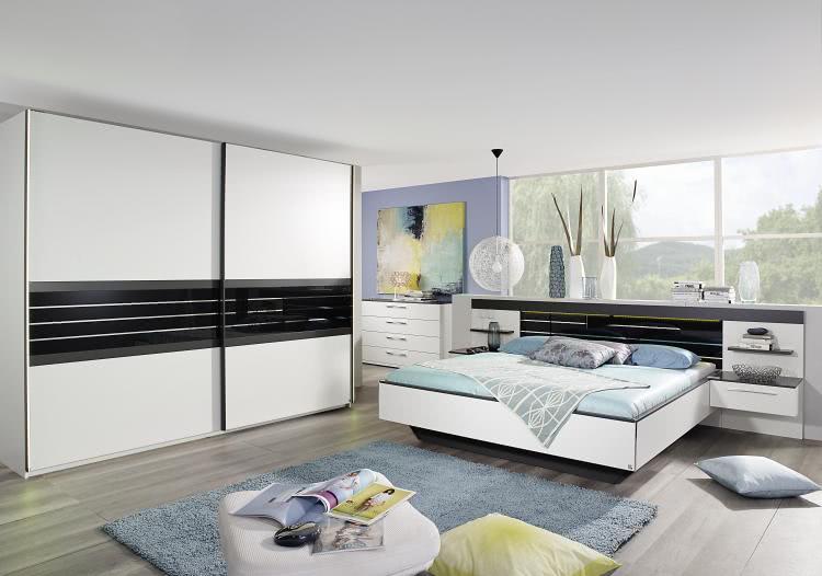 Schlafzimmer 3-tlg Coleen von Rauch Dialog Kombi A Weiß / Graphit ...
