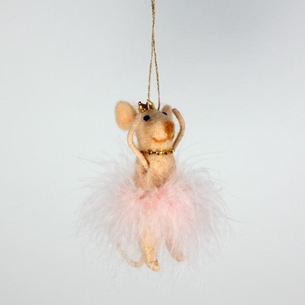 Filzhänger Ballerinamaus 12 cm Rosa von Werner Voss