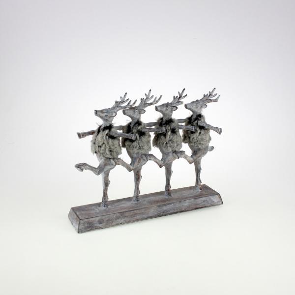 Hirschparade Fancy Deers 30x24 cm Grau / Weiss von Werner Voss