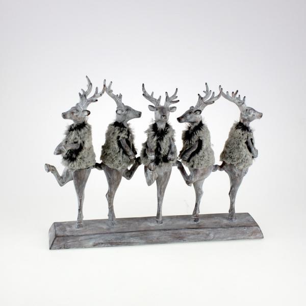 Hirschparade Fancy Deers 39x30,5 cm Grau / Weiss von Werner Voss