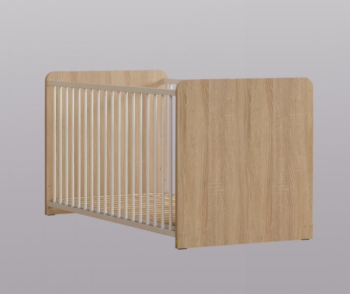 70x140 Babybett inkl. Lattenrost 3fach höhenverstellbar Winnie von Forte Sonoma Eiche / Weiss