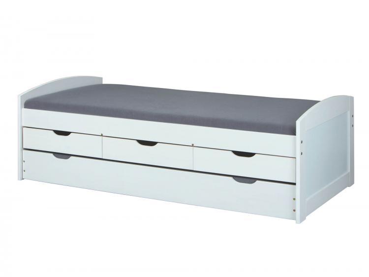 90x200 Funktionsbett ULLI von Interlink Massivholz weiß lackiert
