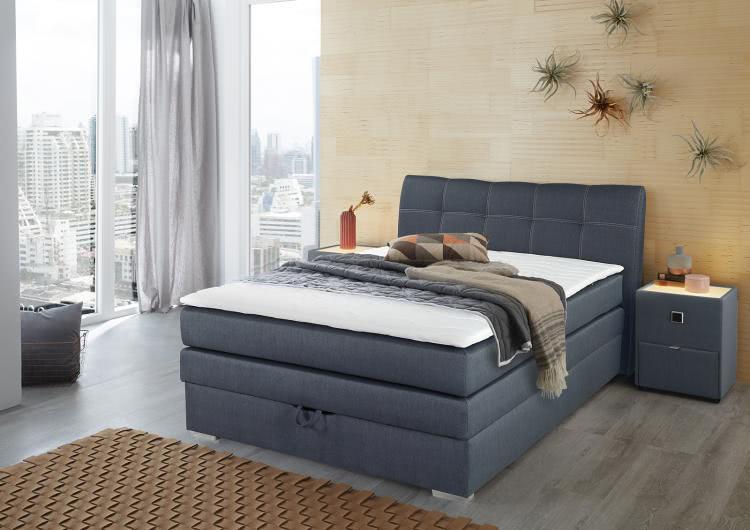 amelie boxspringbett 140x200 cm inkl bettkasten blau. Black Bedroom Furniture Sets. Home Design Ideas