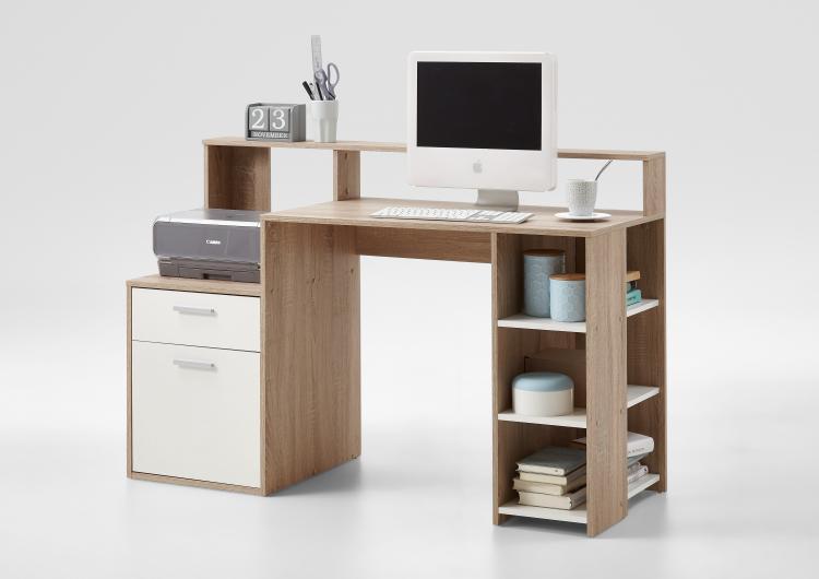 BOLTON Computertisch kompakt ca. 139 cm breit von FMD Eiche / Weiss