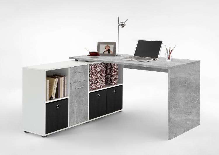 FMD Möbel Winkelschreibtisch LEX links rechts montierbar Beton Weiß