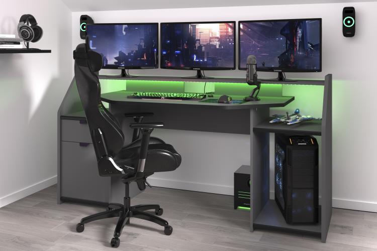 Gamer Tisch PC Schreibtisch inkl LED Beleuchtung Set Up von Parisot Grau / Schwarz