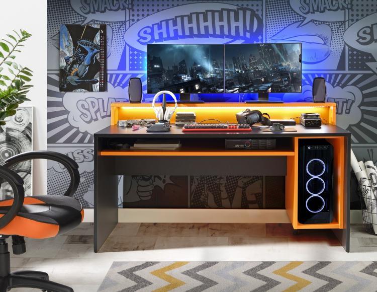 Gamer Tisch PC Schreibtisch TZRB212 TEZAUR von Forte Schwarz / Orange